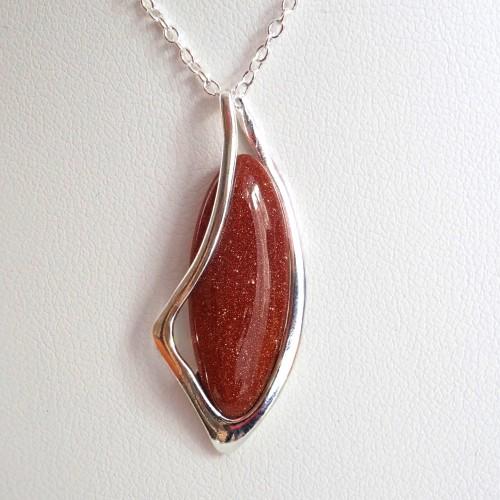 Komplet srebrnej biżuterii. Próba 925. Kamień piasek pustyni KJS011pp