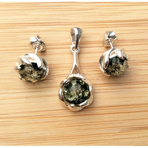 Komplet biżuterii zawieszka + kolczyki. Srebro 925 bursztyn cytrynowy - LXJS014BC