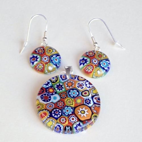 Komplet biżuterii ze szkła Murano. Kolczyki + zawieszka MUJS001
