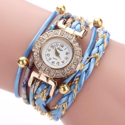 Oryginalny zegarek damski z kryształkami i bransoletką
